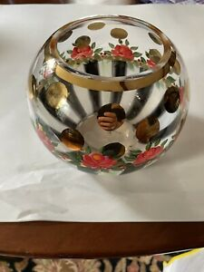Mackenzie Childs painted rose bowl