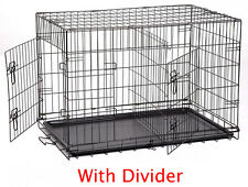 "Large 42"" Divider Folding Pet Dog Animal Cage Crate Kennel With Plastic Pan 258"