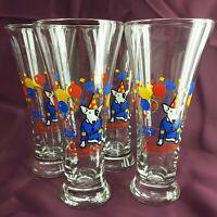 Vintage 1987 Set of 4 Bud Light Spuds Mackenzie 12oz Party Pilsner Glasses (7A2)