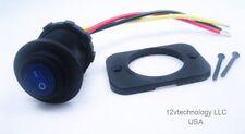 Waterproof Round Rocker Toggle Switch Panel Socket SPST Marine On-Off 12V BLue