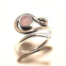 Cute Ring Silver Plated Rose Quartz Gemstone Handmade Fashion jewelry