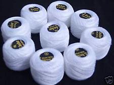 10 White ANCHOR Pearl Cotton Balls.Size 8,85 Mtrs each
