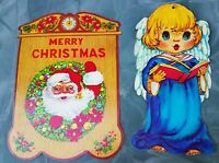 LOT Vintage Diecut Large Christmas Decor -ANGEL & SANTA- Wall Decor