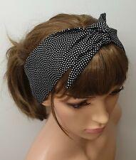 Black self tie headband retro pin up 50's hair scarf rockabilly head scarf gift