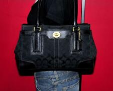 COACH SIGNATURE HAMPTONS Black Jacquard & Leather Satchel Handbag Purse 11062