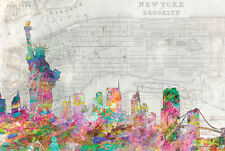 NEW YORK CITY - WATERCOLOR SKYLINE POSTER - 24x36 MANHATTAN NYC BROOKLYN 10705