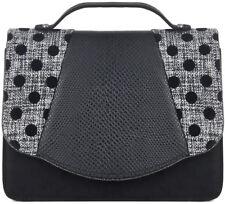 Ruby Shoo BELFAST Vintage Flock POLKA DOT Tweed Handtasche BAG Rockabilly