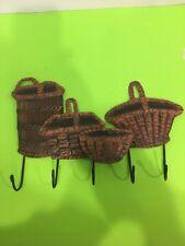 Vintage wall hanging metal baskets coat hat hooks