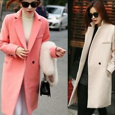 Women Winter Wool Long Parka Trench Coat Fleece Loose Outwear Jacket Lapel Coat