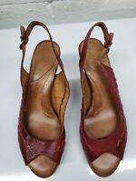 Naya Fandanga Womens Leather Peep Toe Slingback Red Bamboo Heels Size 9.5 M