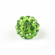 20pcs 8mm Light Green Alloy Ball Rhinestones Round Loose Spacer Beads