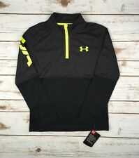 Boys Under Armour 1/4 Zip Black Yellow UA Printed LS Pullover 4 5 6 7 Youth