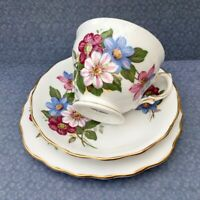 ROYAL VALE TRIO SET CUP SAUCER PLATE PINK BLUE FLORAL c1950s GILDED BONE CHINA