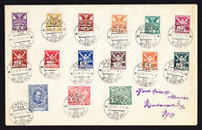 CZ Czech Czechoslovakia 1922 cover from Cheb 1 Eger 1 displaying 15 Stamps