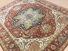 """Persian Oriental Area Rug Serapi Hand Knotted Wool Rust Navy Blue 8'.0"""" X 9'.10"""""""