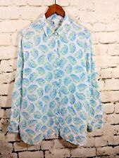 485e869b J. Jill Womens Button Down Love Linen Paisley Floral Blouse White Blue size  M
