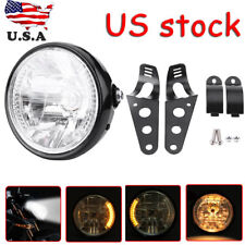 "7"" inch Motorcycle Headlight Amber LED Turn Signal Light fit For Cafe Racer"
