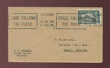 STAMP DEALER ENVELOPE CEYLON 1939 UNSEALED MAIL LEISSER to GB...TELEPHONE SLOGAN