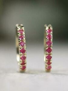 Natural Pink Sapphire Baby Solid 14 K Yellow Gold Hoop Earring