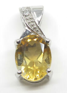 14K Solid White gold Citrine=1.65 carats and diamond pendant