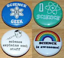 Science Button Badge Set 25mm / 1 inch Geek Physics Chemistry Party