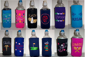 PERSONALIZED Water Bottle Embroidered KOOZIE Cover many choices! Design your own