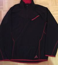 ADIDAS CLIMALITE Black And Red ATHLETIC LIGHT PULLOVER JACKET Men's Medium M