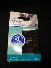 15 Goody Ouchless Chocolate Cake Brown No Metal Elastic Hair Bands Ponytailers