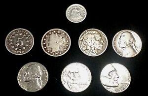 US Nickel Type Set Half Dime, Shield, V, Buffalo, Jefferson War,  + 3 (8 coins)
