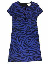 MICHAEL Michael Kors 4 Blue Black Amalfi Animal Print Sheath Career Dress