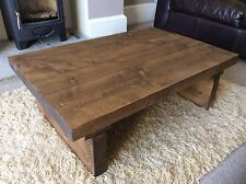 Rustic Handcrafted Chunky Reclaimed Wooden Coffee Table In Walnut Wax