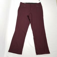 New Inc womens curvy pants size 16S maroon red faux leather details straight leg