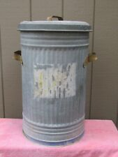 """Vintage Galvanized Metal 20 Gallon Garbage Can With Lid 24"""" Tall"""