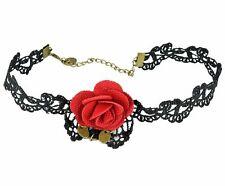 schwarze Halskette Halsband Spitze rote Stoff Rose Halloween Karneval Gothic