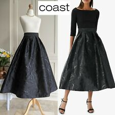 COAST ROBERTA 50s STYLE BLACK FLORAL SHIMMER FIT FLARE GLAMOUR PARTY SKIRT UK 8
