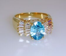 OVAL BLUE ZIRCON and BAGUETTE DIAMONDS RING 2.12 ctw, 14k Yellow Gold, Size 4.75