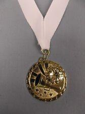 gold Cheerleading medal award with white neck drape