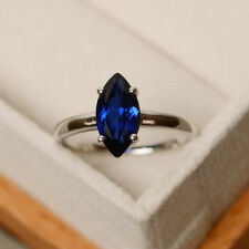 3.55Ct Marquise Shape Natural Gemstone Blue Sapphire Ring 14K Solid White Gold