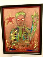Abstract Painting, Modern Canvas Signed Art, Framed SELF PORTRAIT ORIGINAL REED