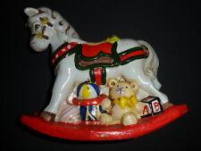 Enesco1981 Rocking Horse Piggy Bank Vintage Colorful Ceramic