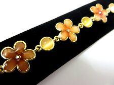 Gold Diamante Rhinestone Coral Peach Flower & yellow cats eye Pretty Bracelet