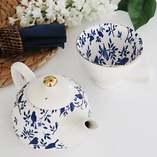 2 Piece Porcelain Teapot w Metal Infuser & Matching Large Teacup Blue Birds Tea