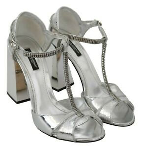 DOLCE & GABBANA Shoes Leather Silver Crystals T-strap Sandals EU39 / US8.5 $1100