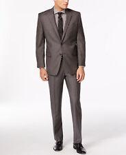 $825 CALVIN KLEIN Mens Slim Fit Wool Suit Gray Pindot 2 PIECE JACKET PANTS 46 L
