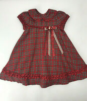 Rare Editions Red Plaid Christmas Holiday Dress Toddler Girl 3T Fancy Tulle Xmas
