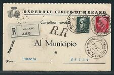 1934 Italy Registered Postcard - Civic Hospital of Merano to the City of Esine