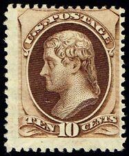 US Sc# 161 *MINT OG H* { 10c BROWN JEFFERSON } SECRET MARK OF 1873 CV$ 1,000.00