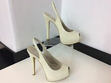 River Island Ladies High Heel Peep Toe, Uk 4, Eu37, Cream Croc  Leather, NEW