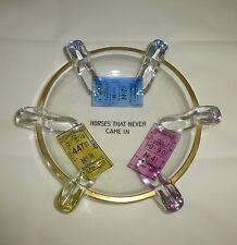 Viking Glass Pilot Ashtray Horse Racing Themed With Losing Tickets 1953 Rare