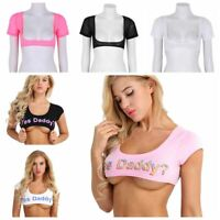 Sexy Women Transparent Mesh Crop Top T-Shirt Yes Daddy Vest Tank Top Tee Blouse